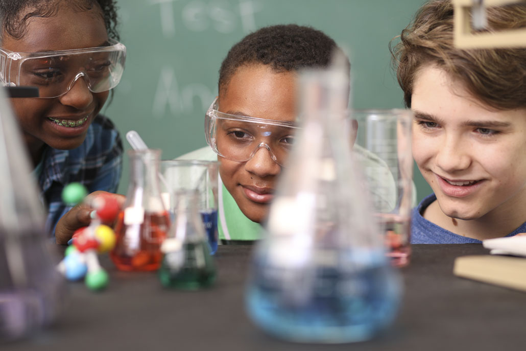 Private school students in a chemistry class